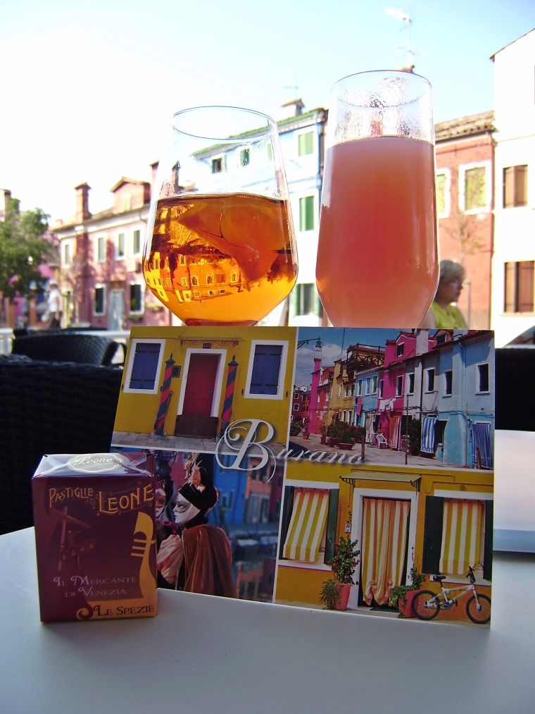 Greetings from Burano with Aperol Spritz and a Bellini!