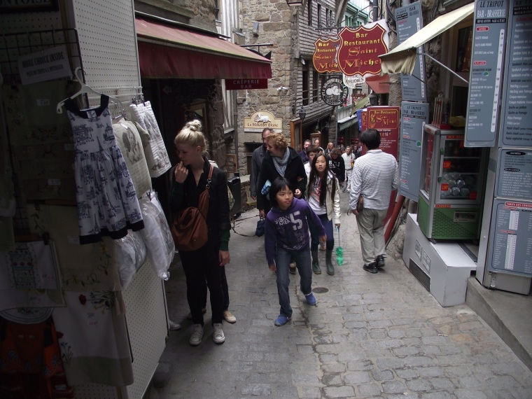 Narrow streets filled with tourists