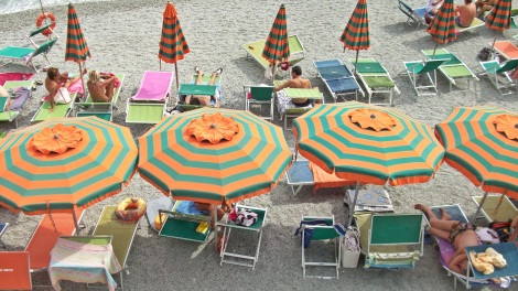Colorful parasols of Monterosso