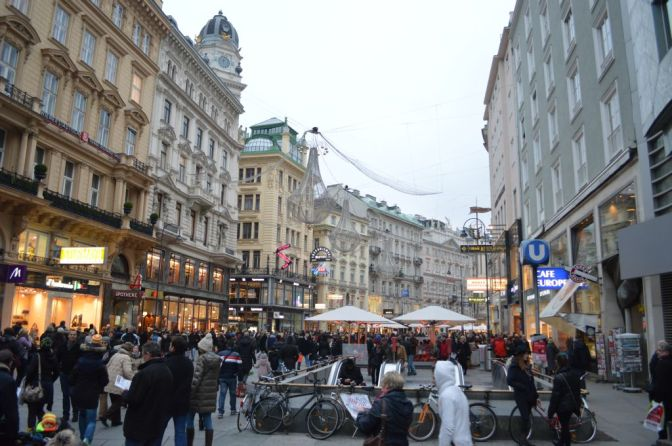 Festive Vienna full of people