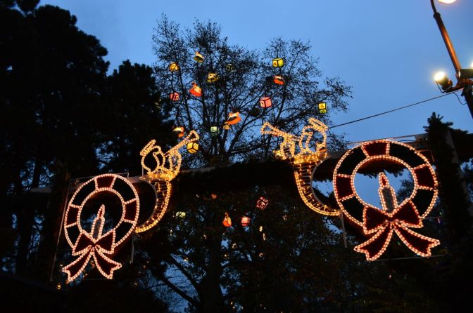 Holiday lights, City Hall park, Vienna