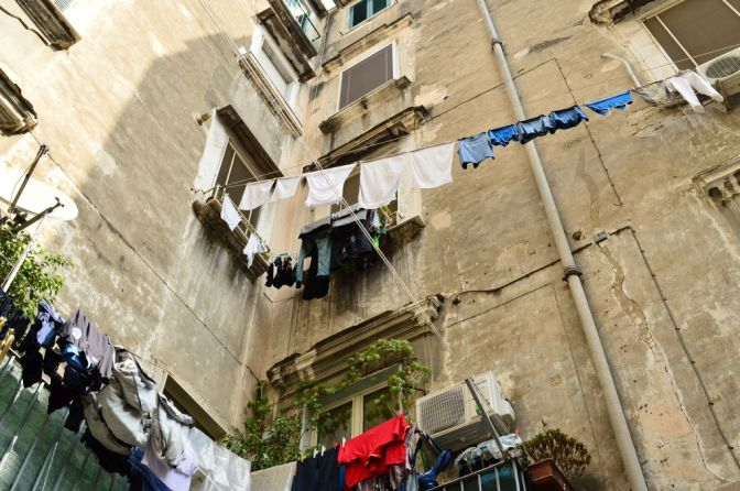 Fresh laundry drying in the air